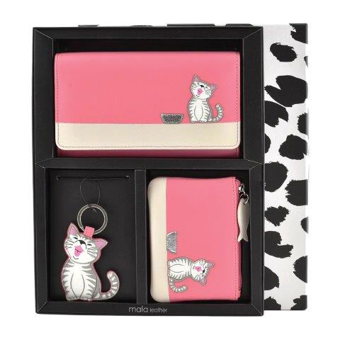 ML008 1 - 3 Piece Leather Boxed Cat Gift Set - ML008