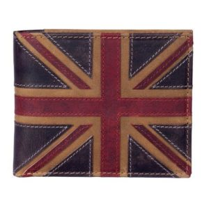 ML19829 1 300x300 - Brown Leather Wallet with Distressed Union Jack Finish - ML19829