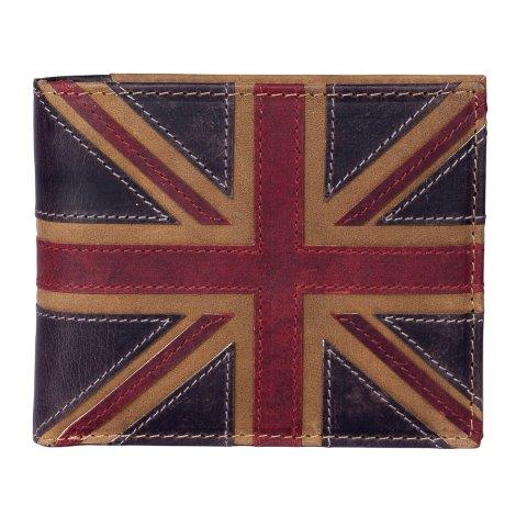 ML19829 1 - Brown Leather Wallet with Distressed Union Jack Finish - ML19829