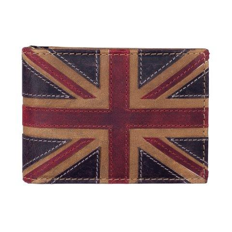 ML514029 1 - Brown Leather Card Holder with Distressed Union Jack Finish - ML514029