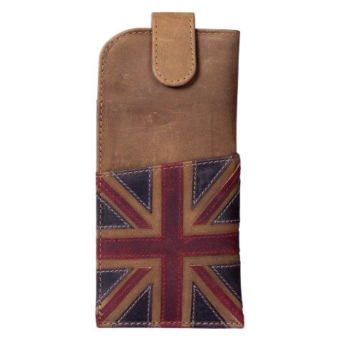 ML514129 1 - Brown Leather Glasses Case with Distressed Union Jack Finish - ML514129