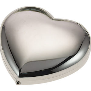 mc219sp 1 300x300 - Mirror Compact Heart Elegant Silver Suitable For Engraving - MC219S